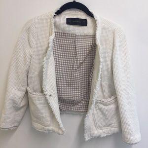 Zara Jackets & Coats - Zara Ivory Lined Jacket with Pockets
